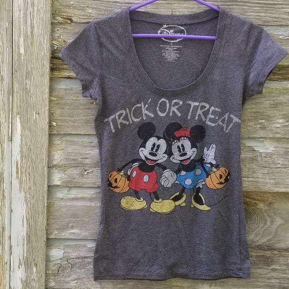 Disney Tops - Trick or Treat Mickey Disney Halloween Vneck Tee